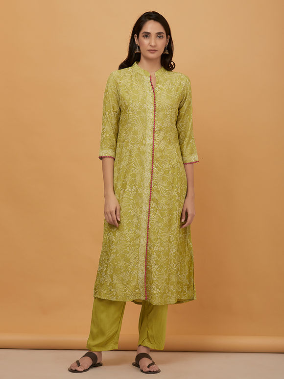 Green Hand Block Printed Muslin Kurta with Pants and Embroidered Dupatta - Set of 3