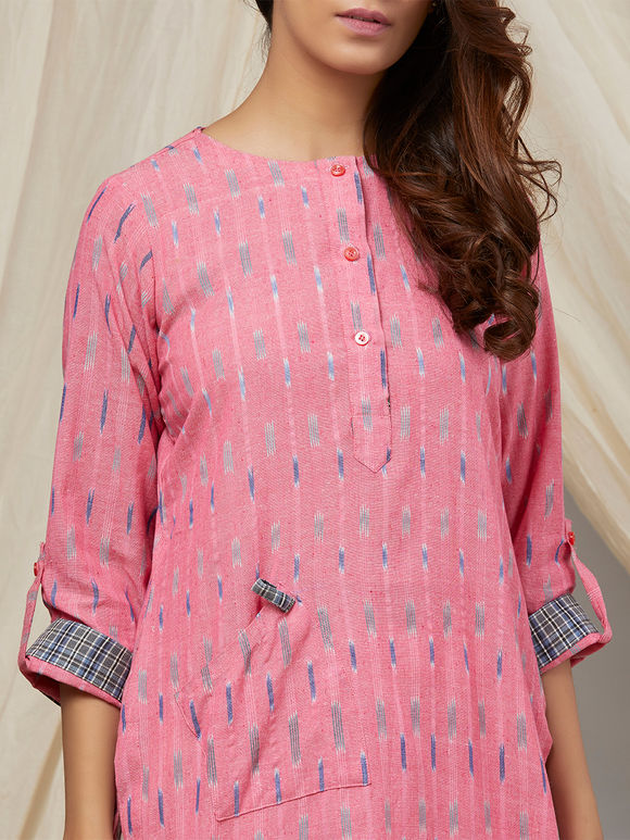 Pink Cotton Ikat Kurta