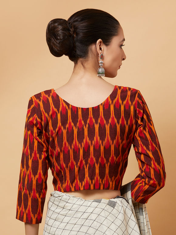 Orange Maroon Cotton Ikat Blouse