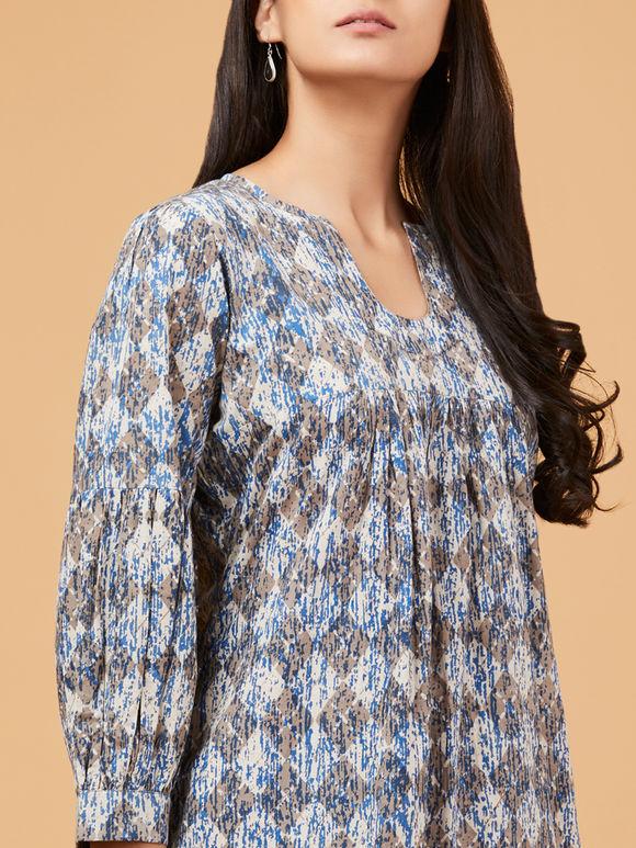 Indigo Brown Dabu Printed Cotton Dress