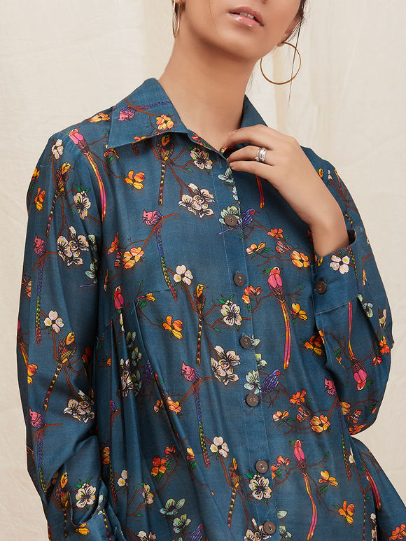 Blue Floral Printed High Low Chanderi Shirt