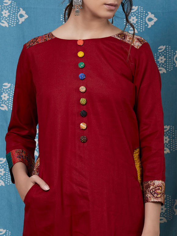 Maroon Cotton Silk Kantha Kurta