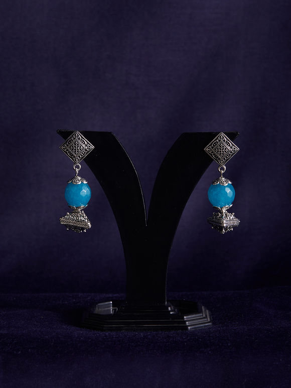 Silver Toned Turquoise Metal Agate Beads Earrings