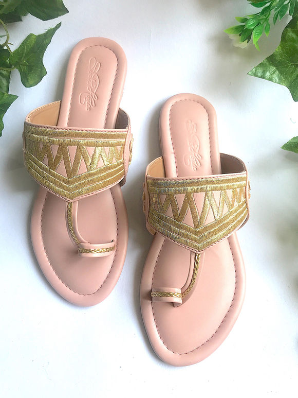 Old Rose Hand Embroidered Faux Leather Flats