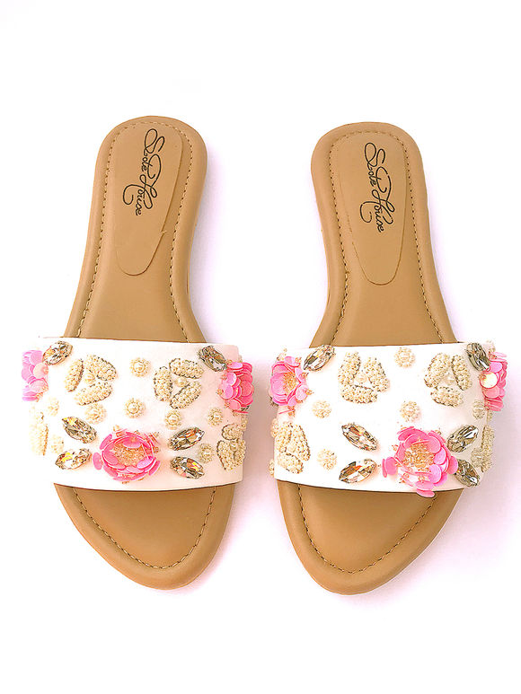 White Tan Embroidered Faux Leather Flats