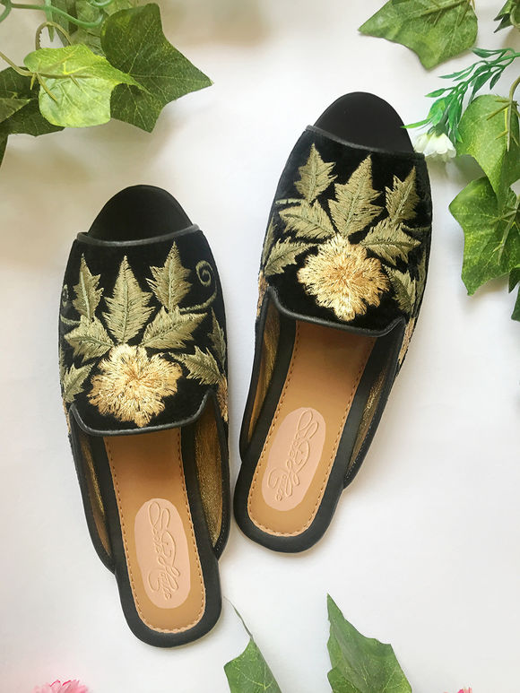 Black Green Embroidered Faux Leather Flats