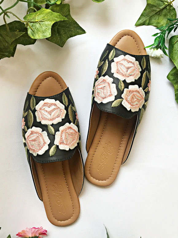 Black Peach Embroidered Faux Leather Flats