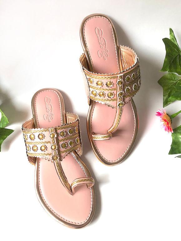 Pink Golden Faux Leather Kolhapuris