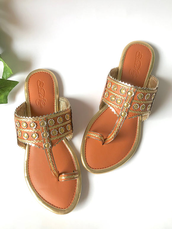 Tan Golden Faux Leather Kolhapuris