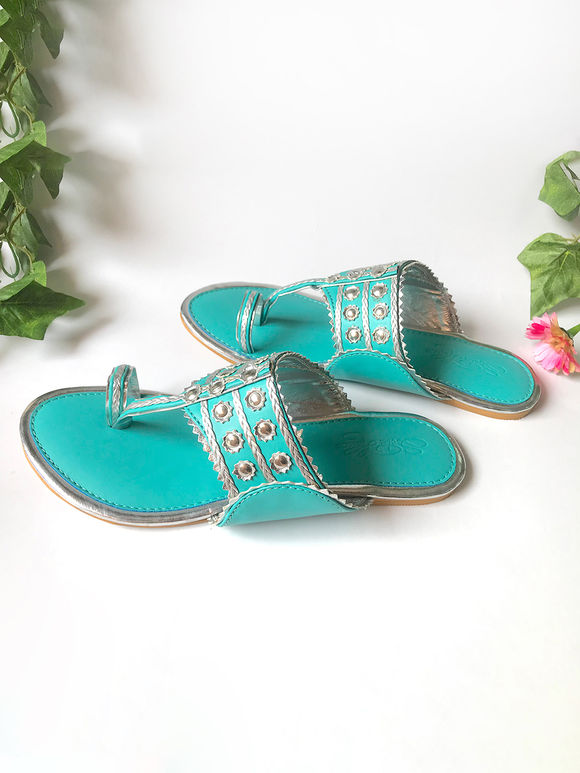 Turquoise Silver Faux Leather Kolhapuris