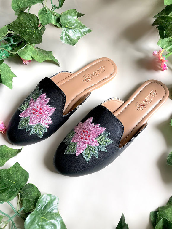Black Tan Hand Embroidered Faux Leather Flats