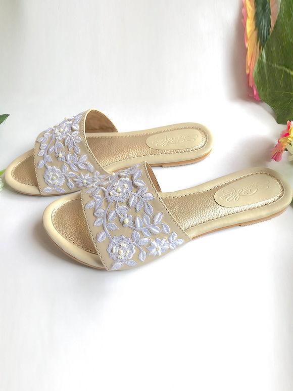 Golden Off White Embroidered Faux Leather Flats