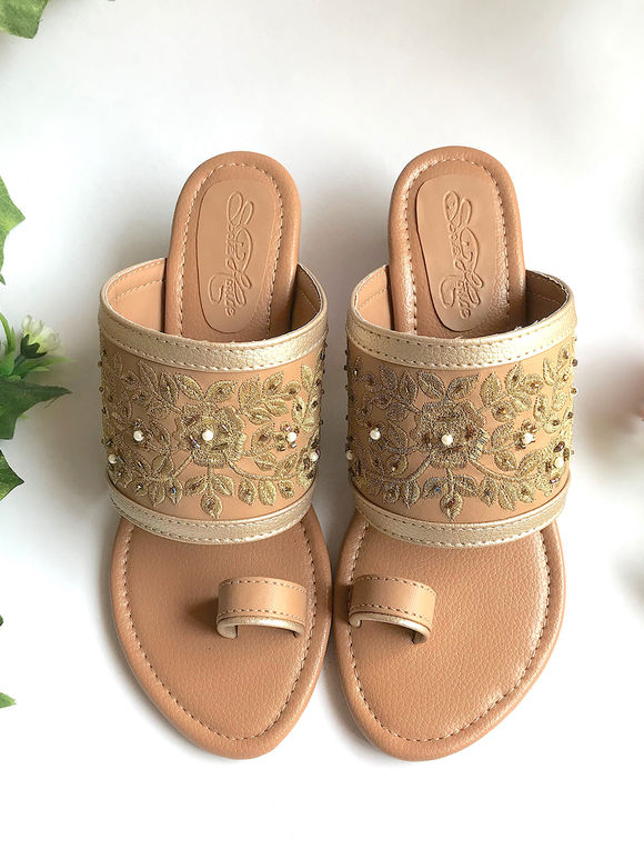 Beige Embroidered Faux Leather Heels