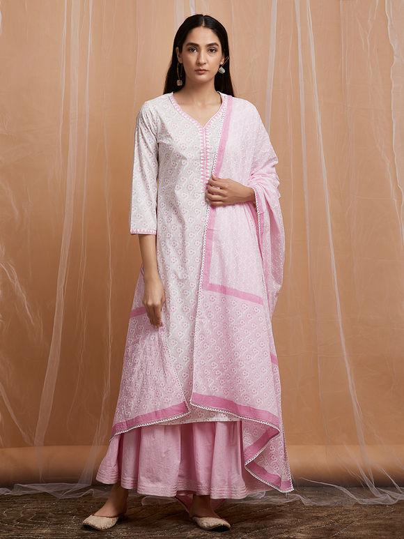 c50eb7540b Ivory Hand Block Printed Cotton Kurta with Pink Sharara and Mulmul Dupatta  - Set of 3