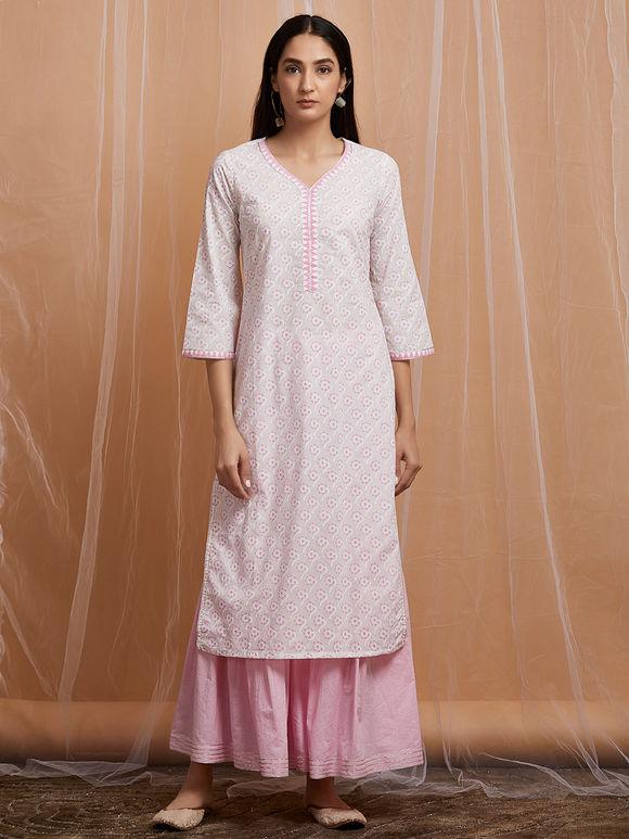 Ivory Hand Block Printed Cotton Kurta with Pink Sharara and Mulmul Dupatta - Set of 3