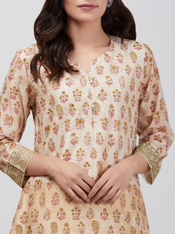 Ivory Pink Hand Block Printed Chanderi Kurta