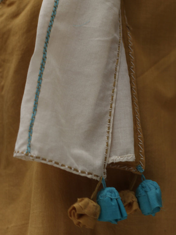 Off White Cotton Silk Scarf