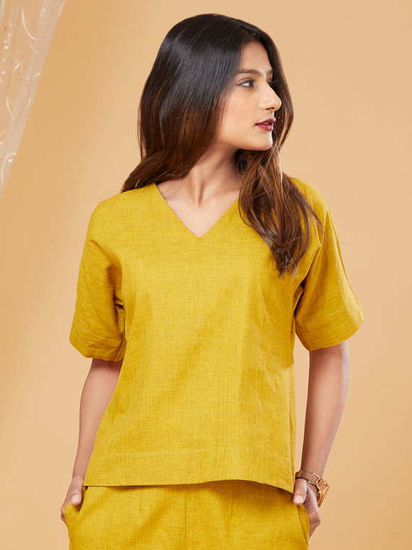 Yellow Khadi Top with Pants - Set of 2