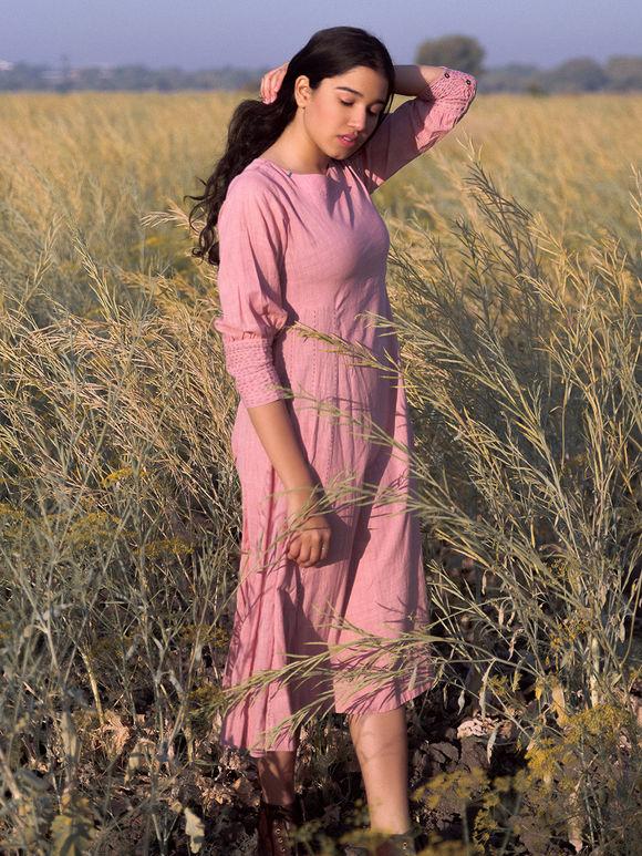 Pink Khadi Cotton Dress