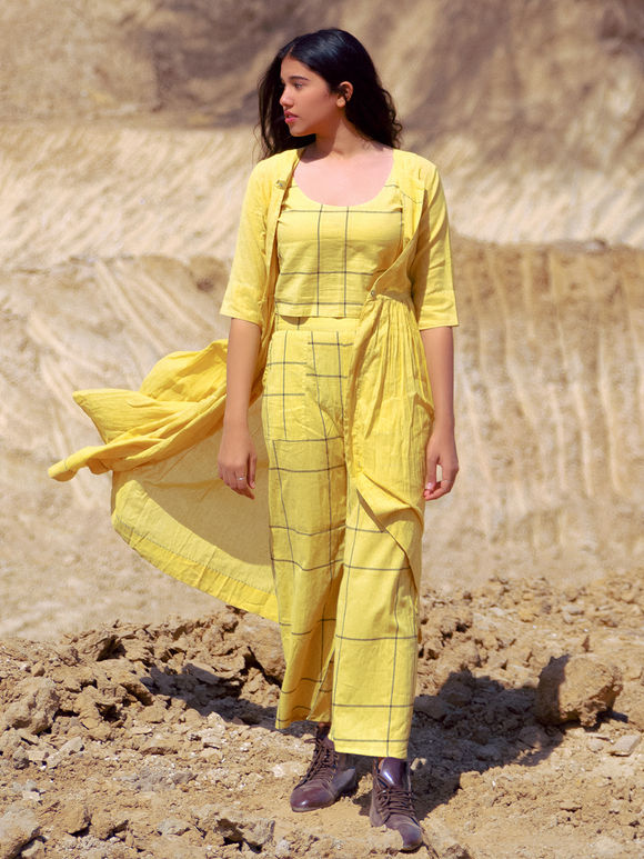Yellow Cotton Muluml Checkered Cape with Crop Top and Palazzo - Set of 3