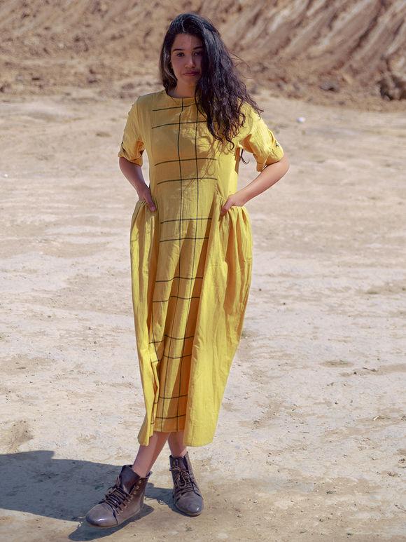 Yellow Cotton Checkered Dress