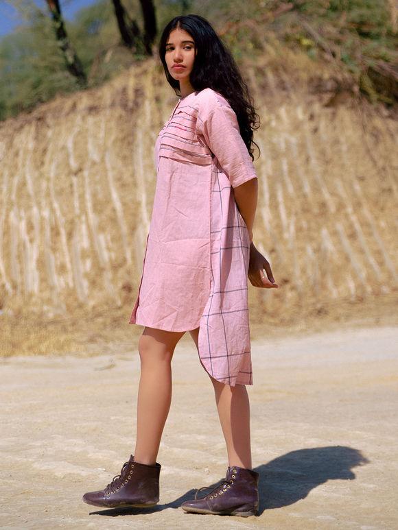 Pink Cotton High-Low Dress