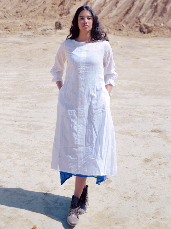 White Cotton Mulmul Flared Dress with Blue Slip - Set of 2
