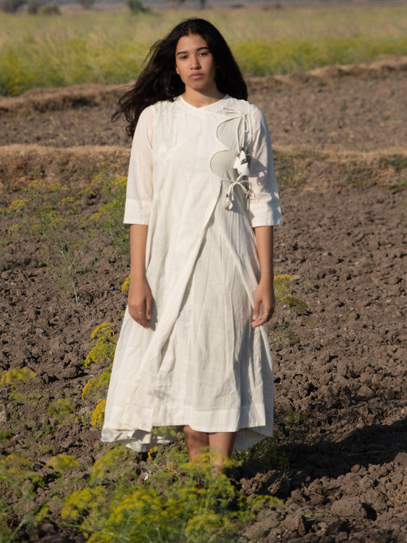 Off White Cotton Mulmul Angrakha Dress with Slip - Set of 2