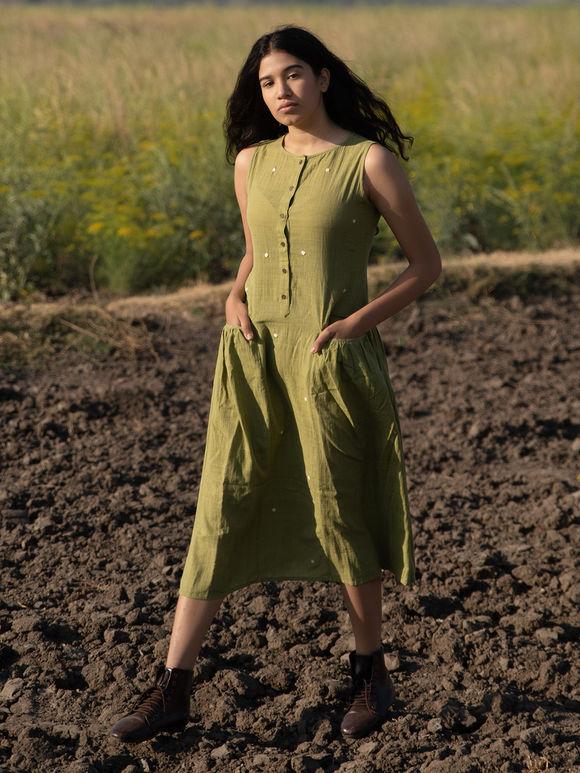 Olive Green Khadi Cotton Dress