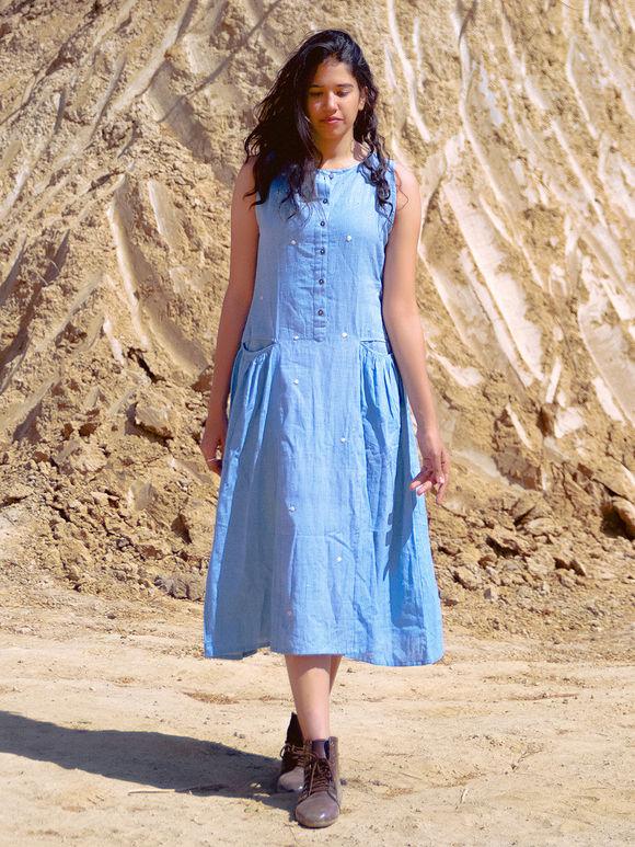 Sky Blue Khadi Cotton Dress