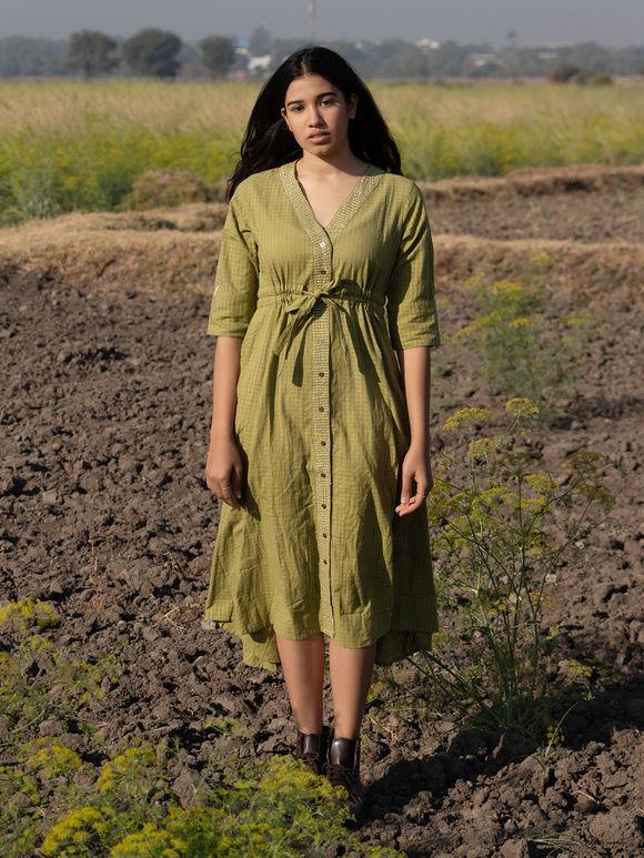 Green Cotton Mulmul Shirt Dress