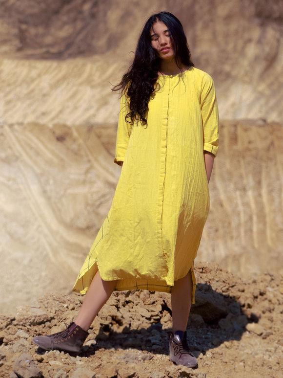 Yellow Cotton High-Low Dress