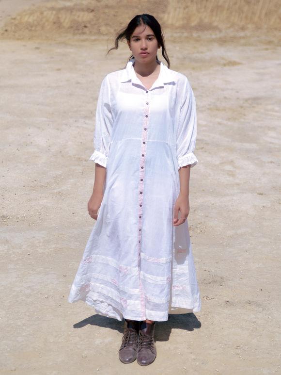 White Cotton Mulmul Maxi Shirt Dress with Slip - Set of 2
