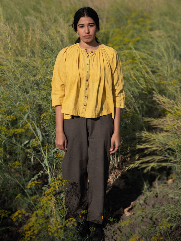 Mustard Yellow Khadi Cotton Gathered Short Top