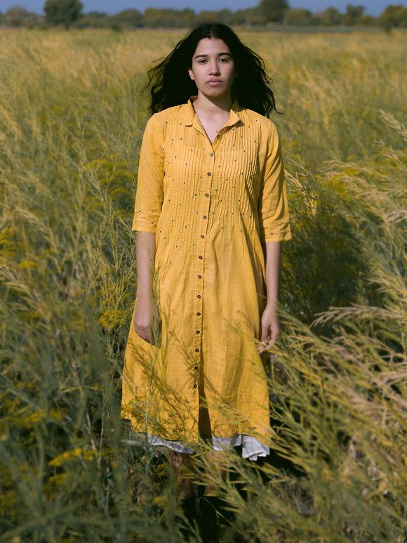 Mustard Yellow Cotton Mulmul Dress with Off White Slip - Set of 2