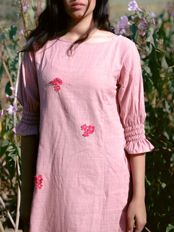 Pink Applique Embroidered Khadi Cotton Dress