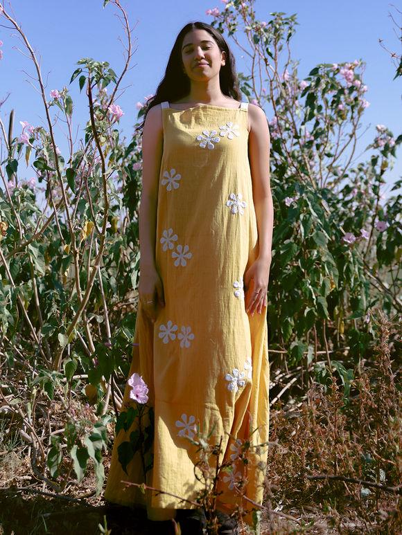 Light Yellow Applique Embroidered Khadi Cotton Maxi Dress