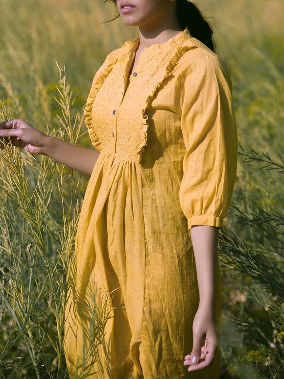 Mustard Yellow Applique Embroidered Cotton Mulmul Dress