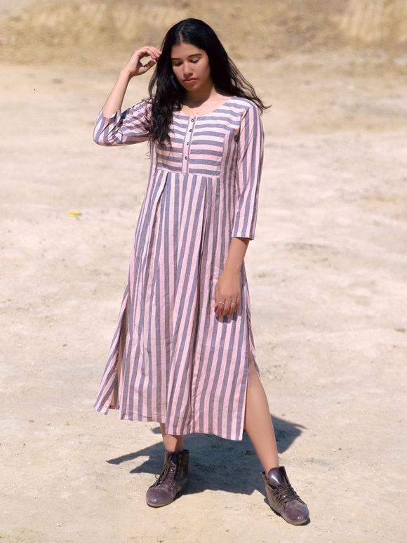 Pink Grey Striped Cotton Dress