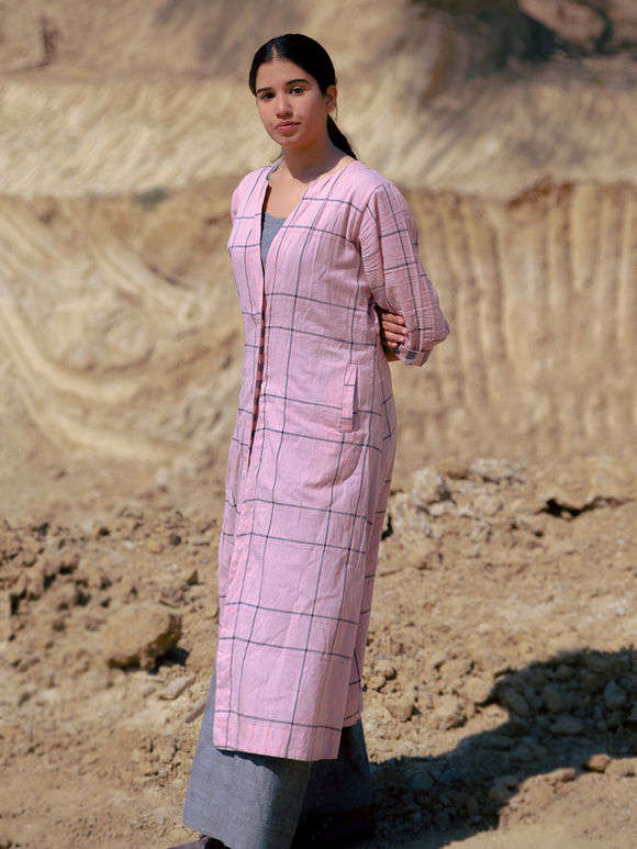 Grey Cotton Dress with Pink Checkered Jacket - Set of 2