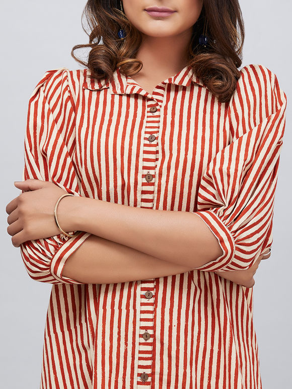 Ivory Maroon Block Printed Stripes Cotton High Low Dress