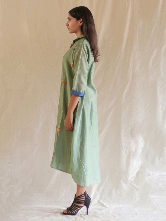 Green Hand Embroidered Chanderi High Low Shirt Dress