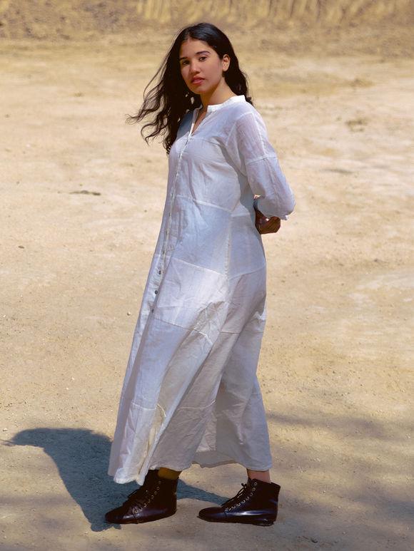 Off White Cotton Maxi Dress