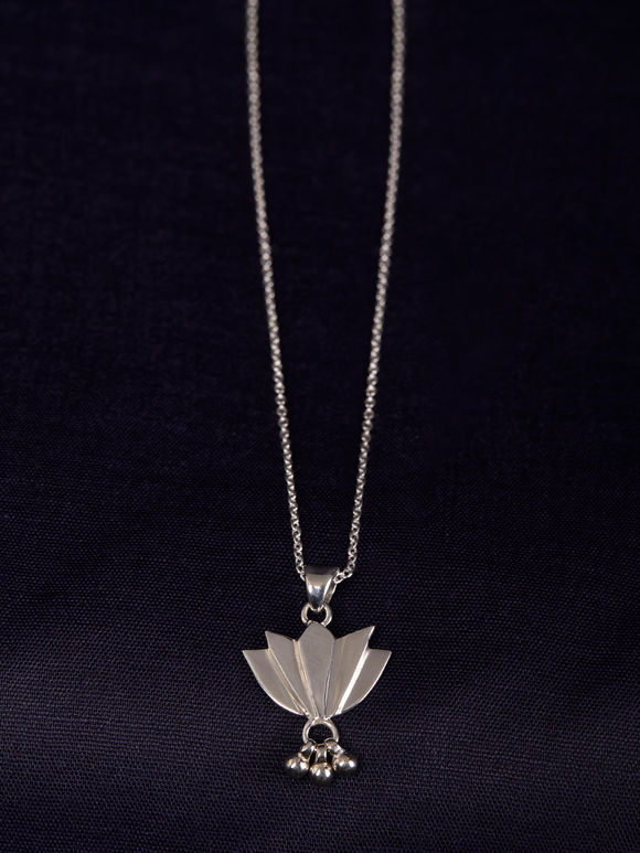 Silver Handcrafted Lotus Necklace