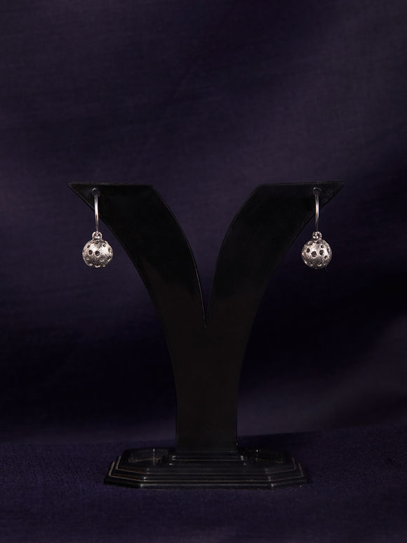 Silver Handcrafted Spherical Earrings