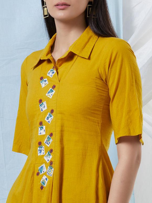 Mustard Yellow Applique Embroidered Cotton Kurta with Churidar- Set of 2