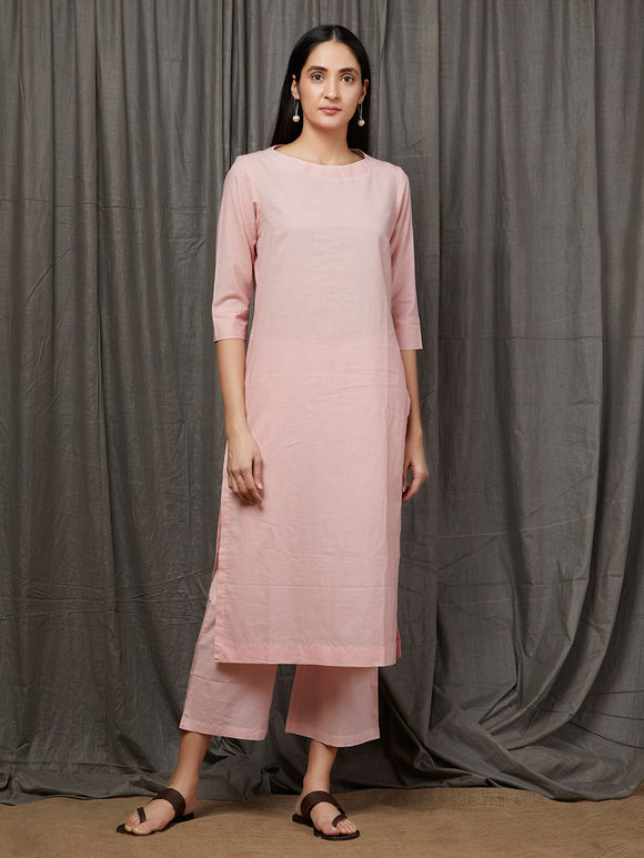 Peach Cotton Kurta with Palazzo and Old Rose Tie and Dyed Jacket - Set of 3