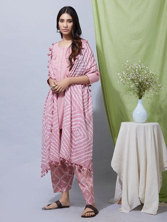 Old Rose Cotton Kurta with Bandhani Salwar and Dupatta- Set of 3