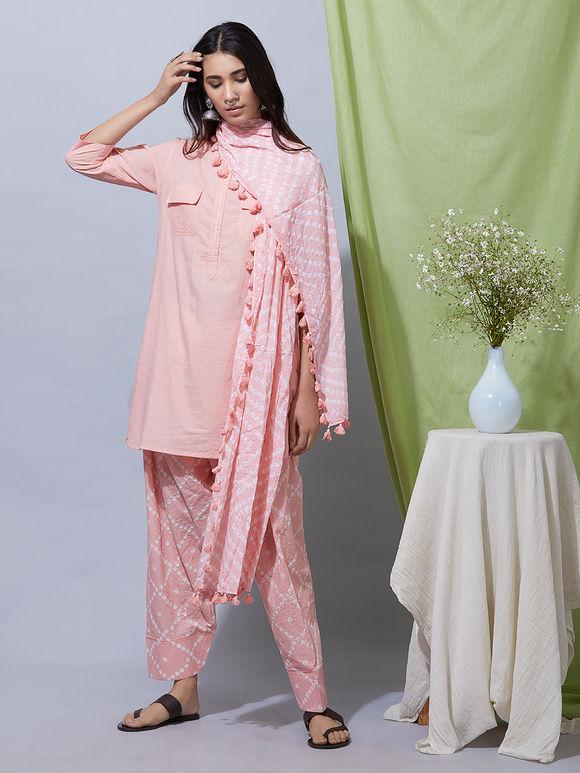 Peach Cotton Kurta with Bandhani Salwar and Dupatta- Set of 3