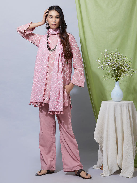Old Rose Cotton Bandhani Kurta with Pants and Dupatta- Set of 3